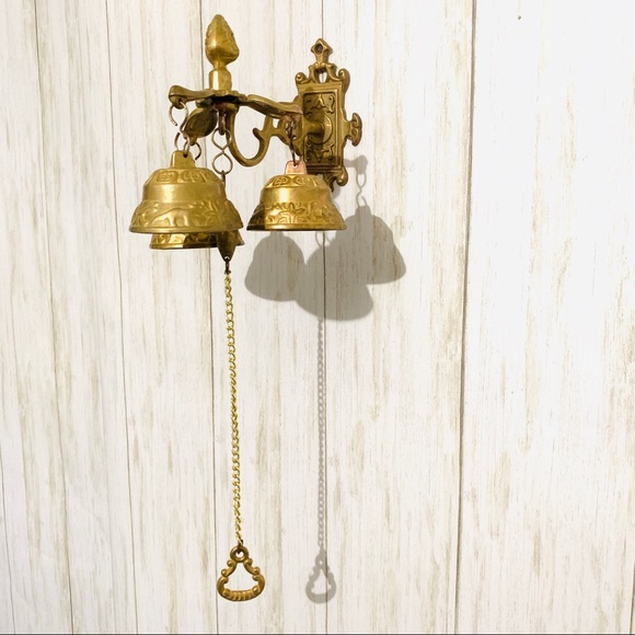 Antique Style Shopkeepers Triple Bell ~ Brass Store Doorbell Tools & Home Improvement